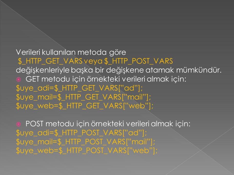 Verileri kullanılan metoda göre $_HTTP_GET_VARS veya $_HTTP_POST_VARS değişkenleriyle başka bir değişkene atamak mümkündür.  GET metodu için örnektek
