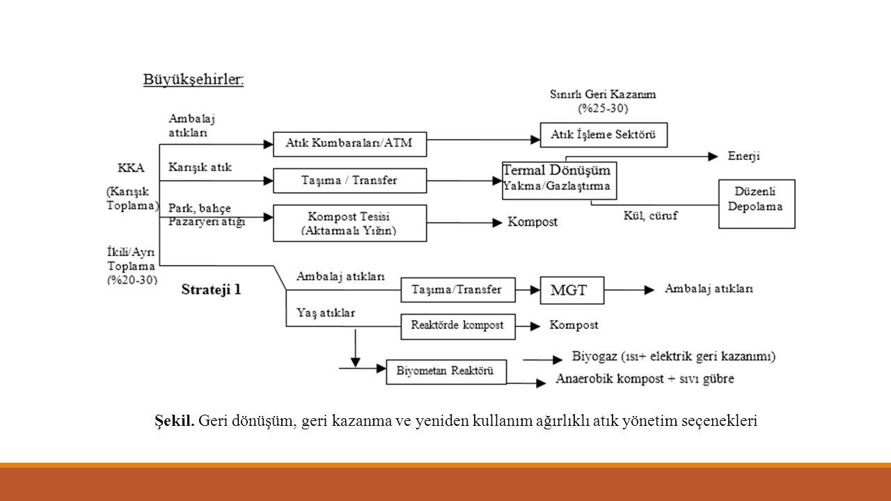 Şekil. Geri dönüşüm, geri kazanma ve yeniden kullanım ağırlıklı atık yönetim seçenekleri (devam)