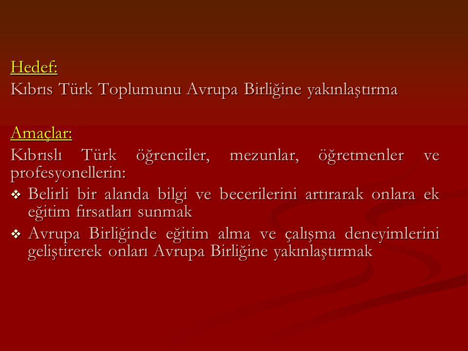 Hedef: Kıbrıs Türk Toplumunu Avrupa Birliğine yakınlaştırma Amaçlar: Kıbrıslı Türk öğrenciler, mezunlar, öğretmenler ve profesyonellerin:  Belirli bi