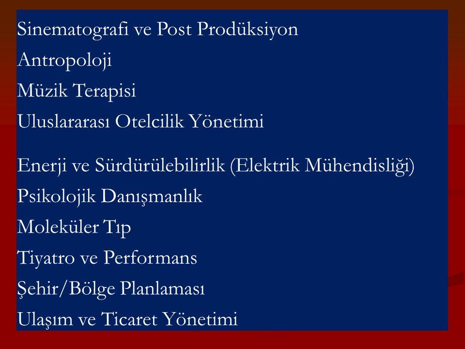 Sinematografi ve Post Prodüksiyon Antropoloji Müzik Terapisi Uluslararası Otelcilik Yönetimi Enerji ve Sürdürülebilirlik (Elektrik Mühendisliği) Psiko