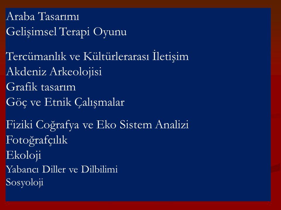 Araba Tasarımı Gelişimsel Terapi Oyunu Tercümanlık ve Kültürlerarası İletişim Akdeniz Arkeolojisi Grafik tasarım Göç ve Etnik Çalışmalar Fiziki Coğraf