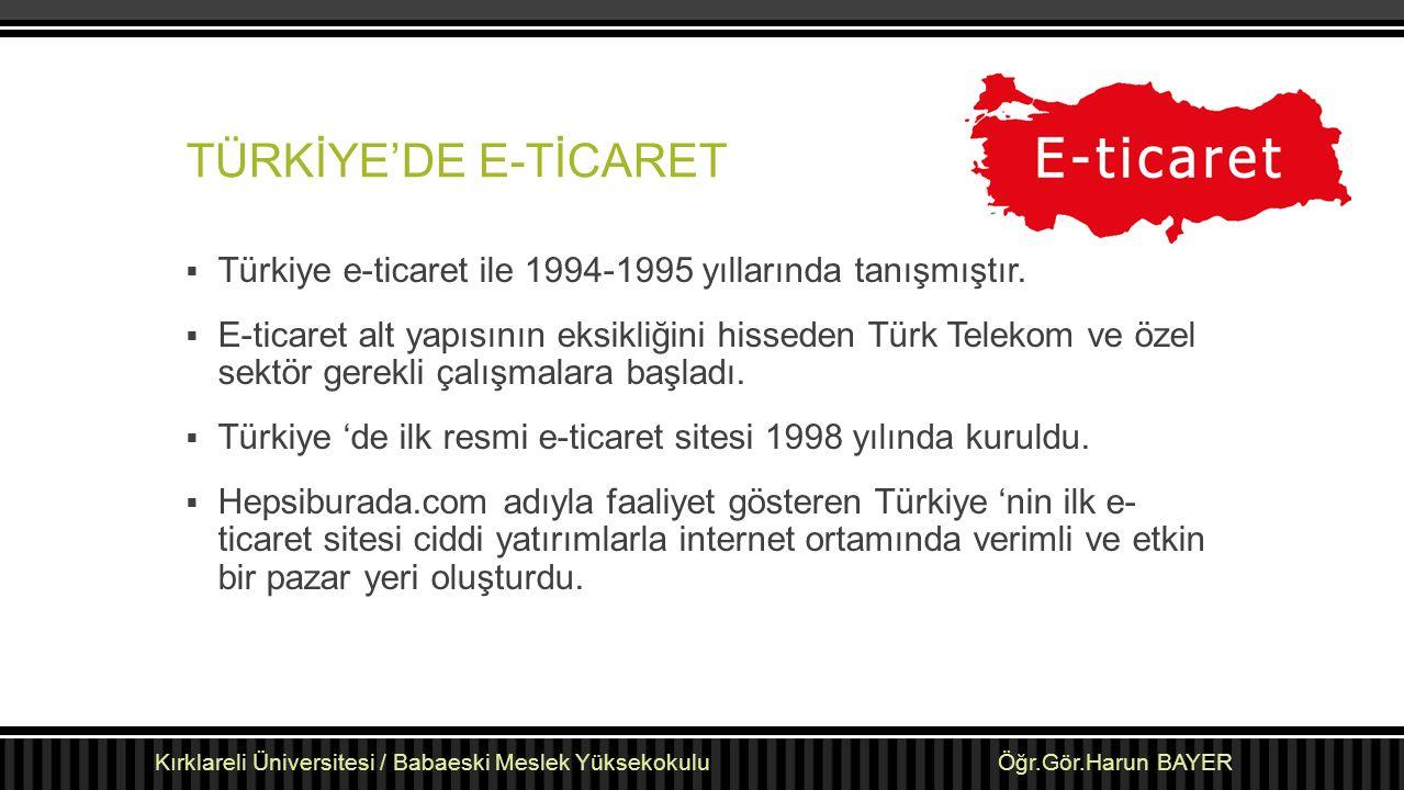 TÜRKİYE'DE E-TİCARET  Türkiye e-ticaret ile 1994-1995 yıllarında tanışmıştır.  E-ticaret alt yapısının eksikliğini hisseden Türk Telekom ve özel sek