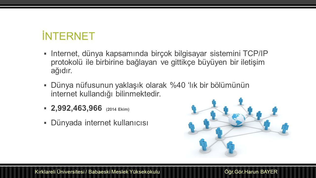 İNTERNET  Internet, dünya kapsamında birçok bilgisayar sistemini TCP/IP protokolü ile birbirine bağlayan ve gittikçe büyüyen bir iletişim ağıdır.  D