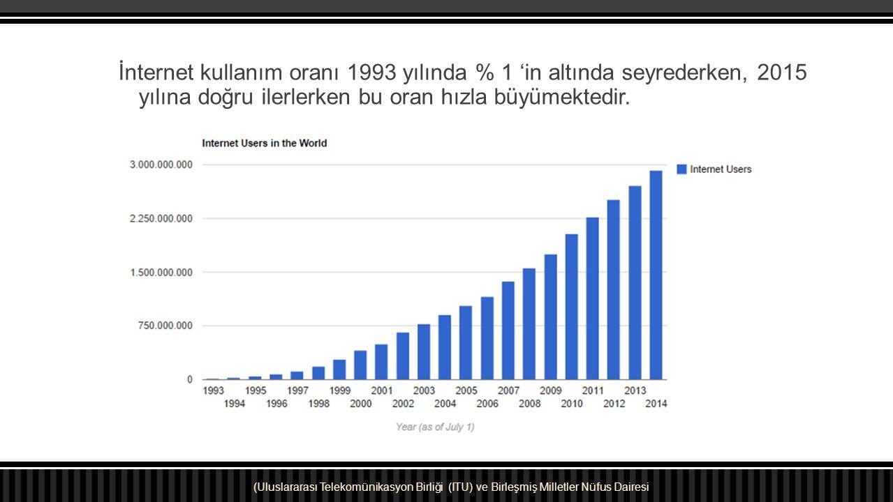 İnternet kullanım oranı 1993 yılında % 1 'in altında seyrederken, 2015 yılına doğru ilerlerken bu oran hızla büyümektedir. (Uluslararası Telekomünikas