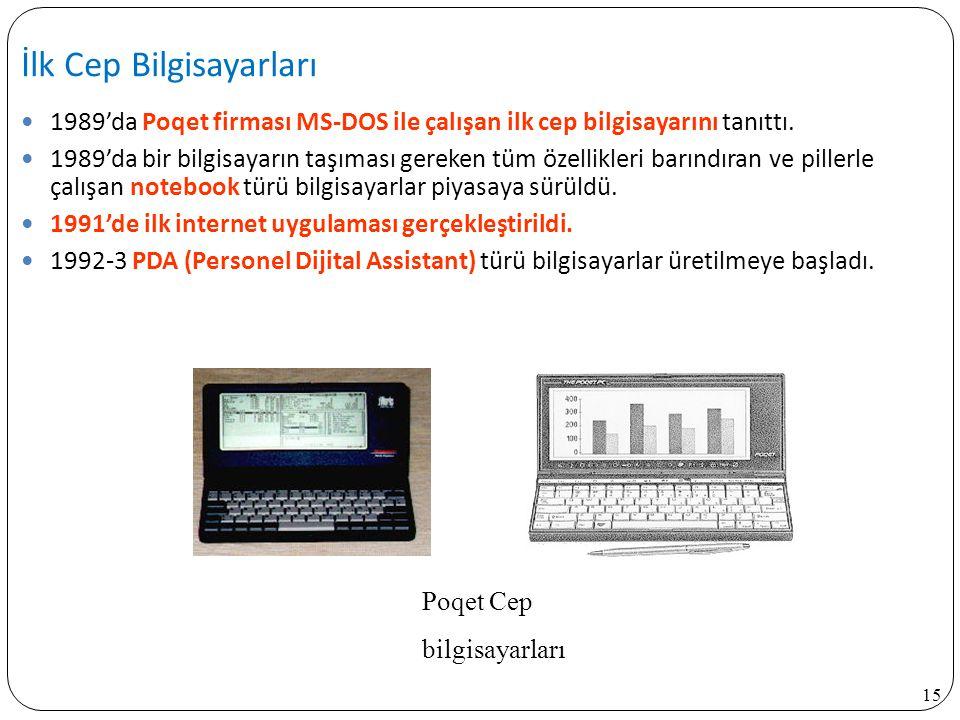 15 1989'da Poqet firması MS-DOS ile çalışan ilk cep bilgisayarını tanıttı. 1989'da bir bilgisayarın taşıması gereken tüm özellikleri barındıran ve pil