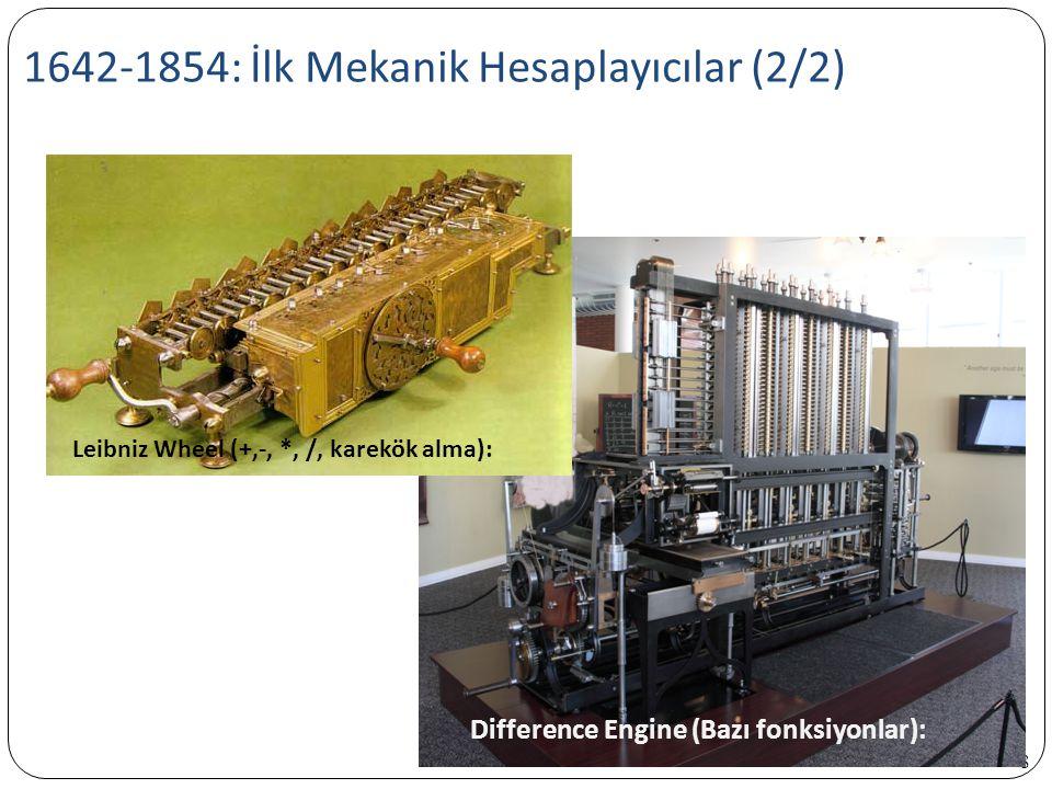 1642-1854: İlk Mekanik Hesaplayıcılar (2/2) 8 Difference Engine (Bazı fonksiyonlar): Leibniz Wheel (+,-, *, /, karekök alma):