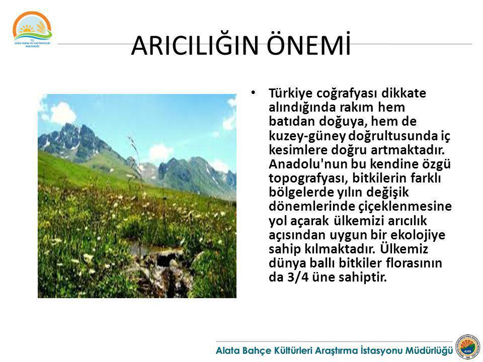 ARICILIĞIN ÖNEMİ Türkiye coğrafyası dikkate alındığında rakım hem batıdan doğuya, hem de kuzey-güney doğrultusunda iç kesimlere doğru artmaktadır. Ana