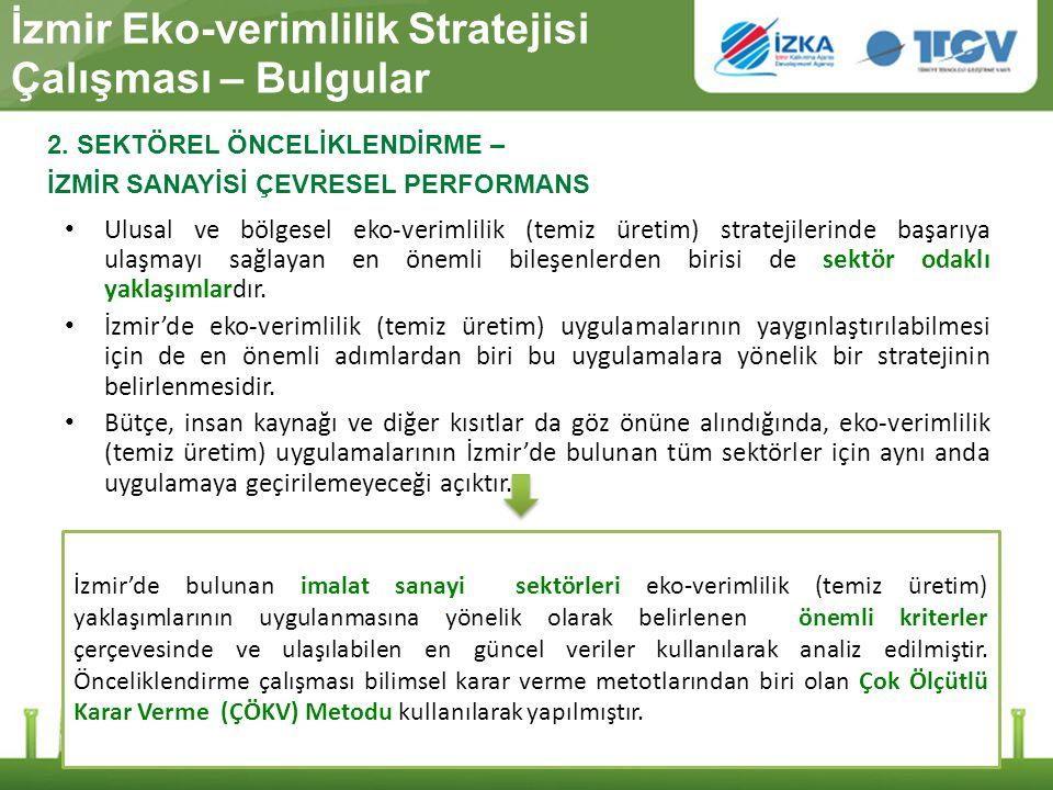 İzmir Eko-verimlilik Stratejisi Çalışması – Bulgular Ulusal ve bölgesel eko-verimlilik (temiz üretim) stratejilerinde başarıya ulaşmayı sağlayan en ön
