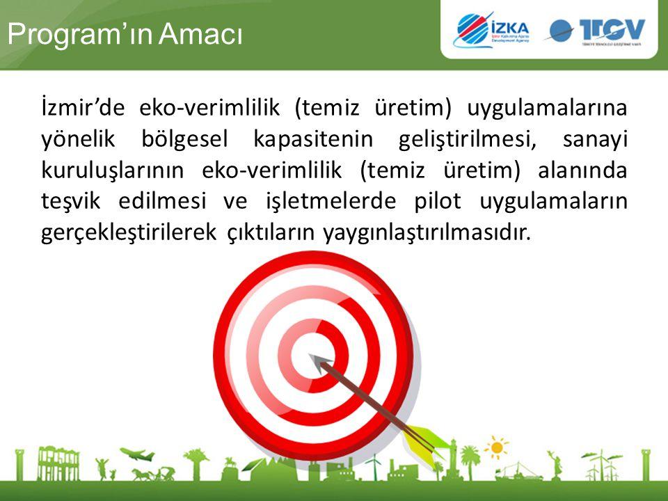 Program'ın Amacı İzmir'de eko-verimlilik (temiz üretim) uygulamalarına yönelik bölgesel kapasitenin geliştirilmesi, sanayi kuruluşlarının eko-verimlil