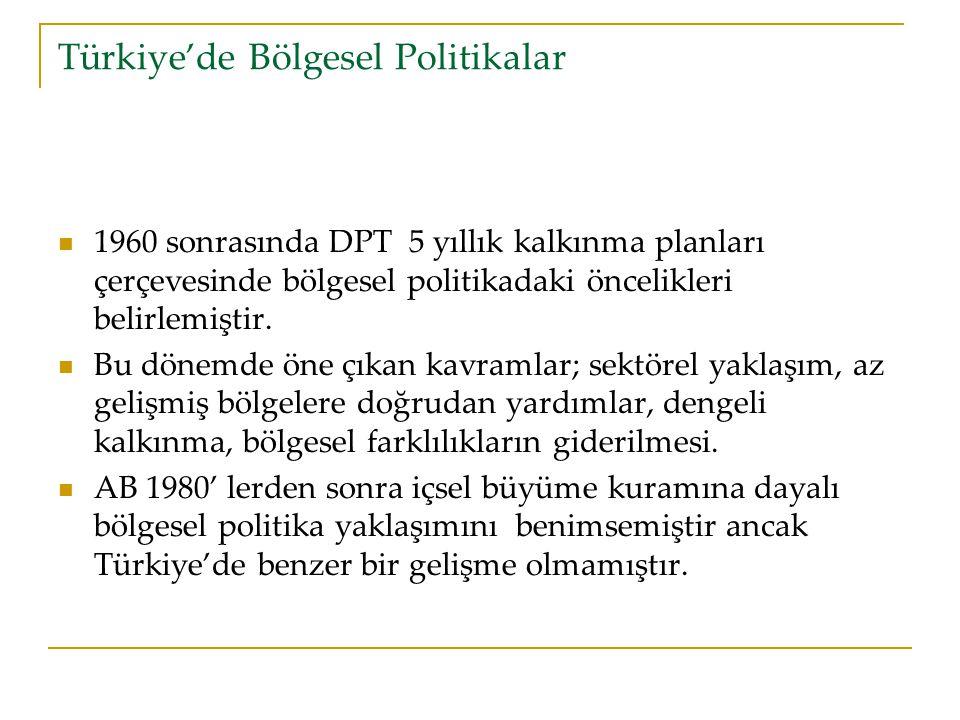 Türkiye'de Bölgesel Politikalar 1960 sonrasında DPT 5 yıllık kalkınma planları çerçevesinde bölgesel politikadaki öncelikleri belirlemiştir.