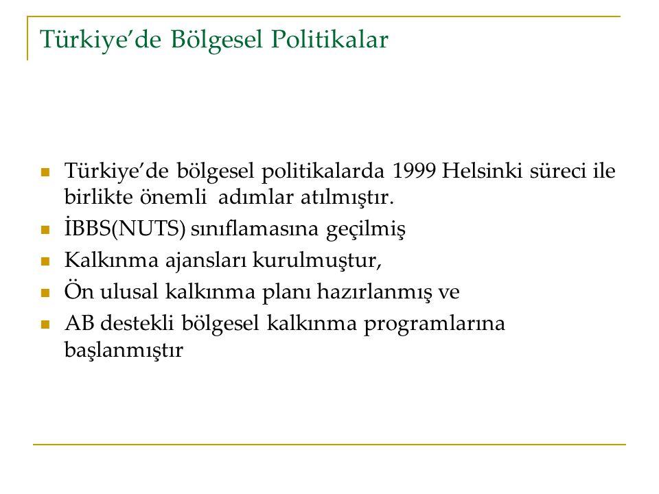 Türkiye'de Bölgesel Politikalar Türkiye'de bölgesel politikalarda 1999 Helsinki süreci ile birlikte önemli adımlar atılmıştır.