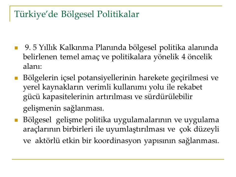 Türkiye'de Bölgesel Politikalar 9.