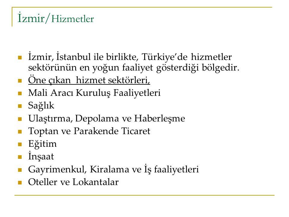 İzmir/ Hizmetler İzmir, İstanbul ile birlikte, Türkiye'de hizmetler sektörünün en yoğun faaliyet gösterdiği bölgedir.