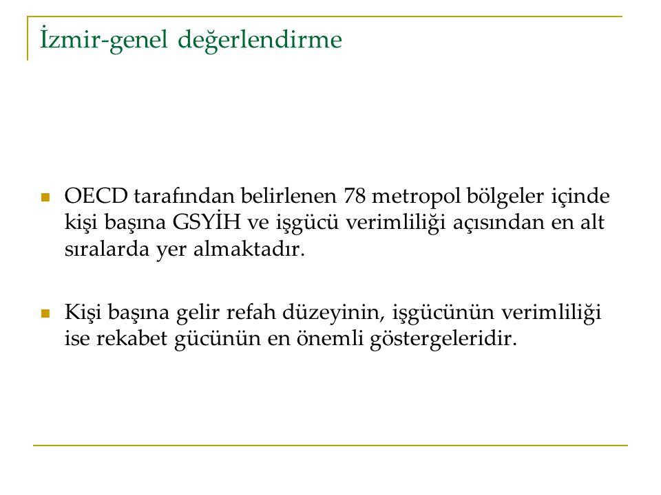 İzmir-genel değerlendirme OECD tarafından belirlenen 78 metropol bölgeler içinde kişi başına GSYİH ve işgücü verimliliği açısından en alt sıralarda yer almaktadır.