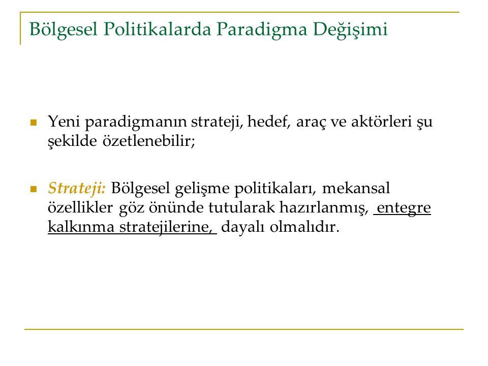 Bölgesel Politikalarda Paradigma Değişimi Yeni paradigmanın strateji, hedef, araç ve aktörleri şu şekilde özetlenebilir; Strateji: Bölgesel gelişme politikaları, mekansal özellikler göz önünde tutularak hazırlanmış, entegre kalkınma stratejilerine, dayalı olmalıdır.