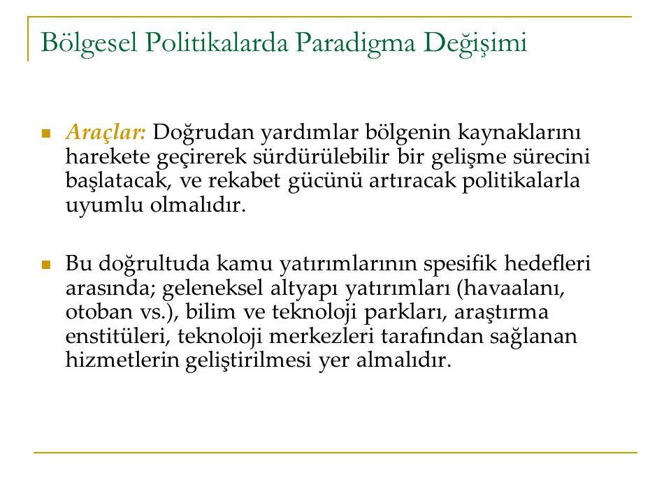Türkiye'de Bölgesel Politikalar Yerel ve merkezi düzeyde kurumsal kapasitenin artırılması ve insan kaynaklarının geliştirilmesi.