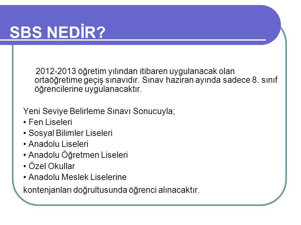 SBS NEDİR. 2012-2013 öğretim yılından itibaren uygulanacak olan ortaöğretime geçiş sınavıdır.