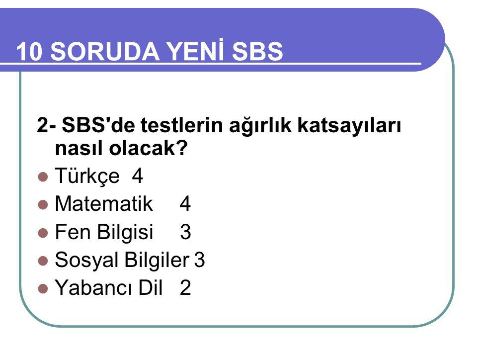 10 SORUDA YENİ SBS 2- SBS de testlerin ağırlık katsayıları nasıl olacak.