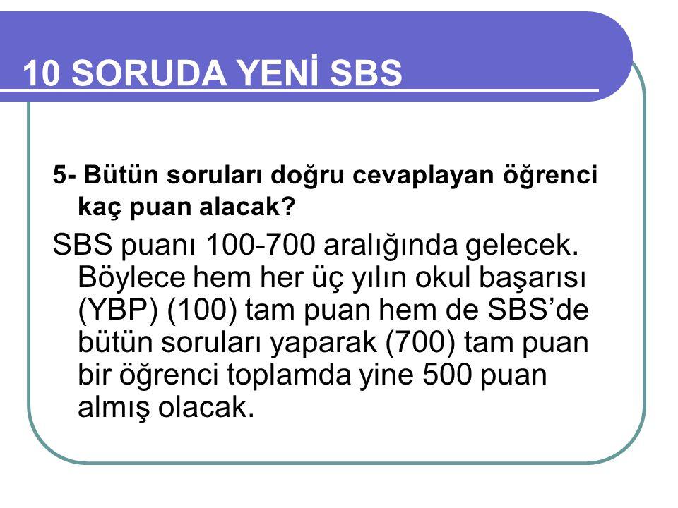 10 SORUDA YENİ SBS 5- Bütün soruları doğru cevaplayan öğrenci kaç puan alacak.