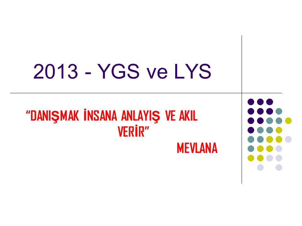 "2013 - YGS ve LYS ""DANI Ş MAK İ NSANA ANLAYI Ş VE AKIL VER İ R"" MEVLANA"