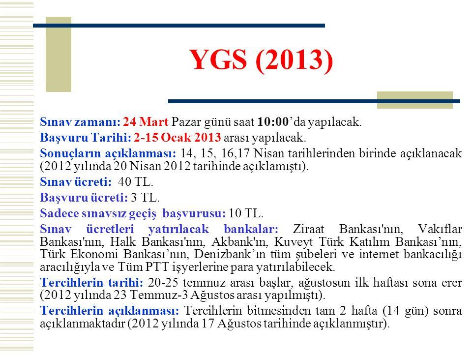 YGS (2013) Sınav zamanı: 24 Mart Pazar günü saat 10:00'da yapılacak. Başvuru Tarihi: 2-15 Ocak 2013 arası yapılacak. Sonuçların açıklanması: 14, 15, 1
