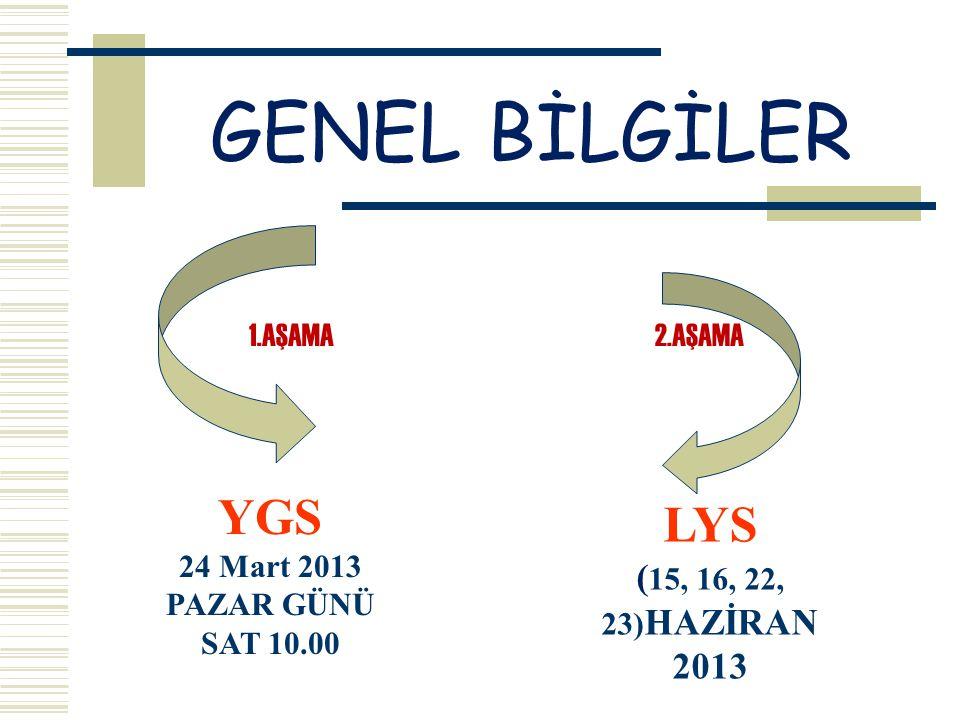 GENEL BİLGİLER YGS 24 Mart 2013 PAZAR GÜNÜ SAT 10.00 LYS ( 15, 16, 22, 23) HAZİRAN 2013 1.AŞAMA2.AŞAMA
