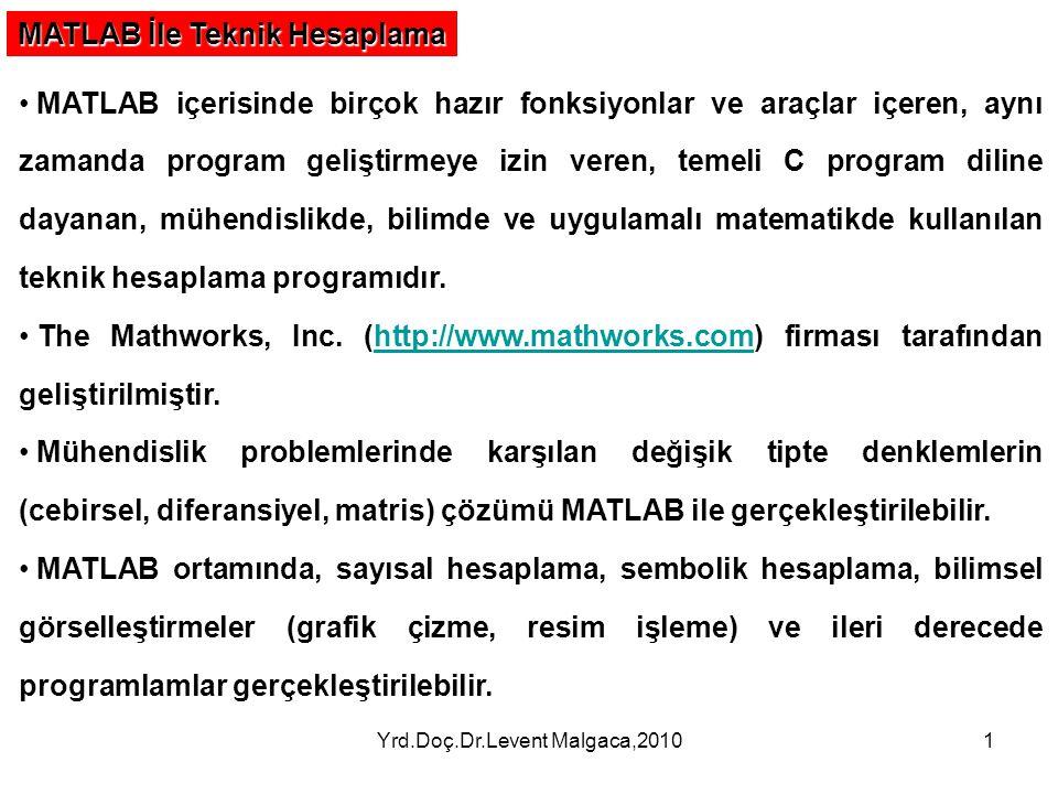 Yrd.Doç.Dr.Levent Malgaca,20101 MATLAB İle Teknik Hesaplama MATLAB içerisinde birçok hazır fonksiyonlar ve araçlar içeren, aynı zamanda program gelişt