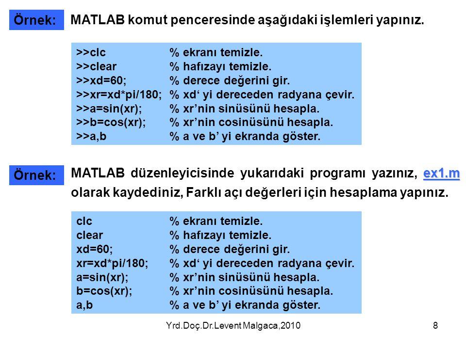 Yrd.Doç.Dr.Levent Malgaca,20108 Örnek: >>clc% ekranı temizle. >>clear% hafızayı temizle. >>xd=60; % derece değerini gir. >>xr=xd*pi/180; % xd' yi dere