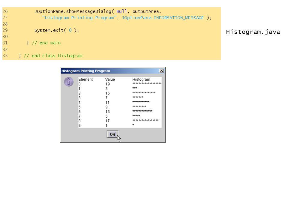 Histogram.java 26 JOptionPane.showMessageDialog( null, outputArea, 27