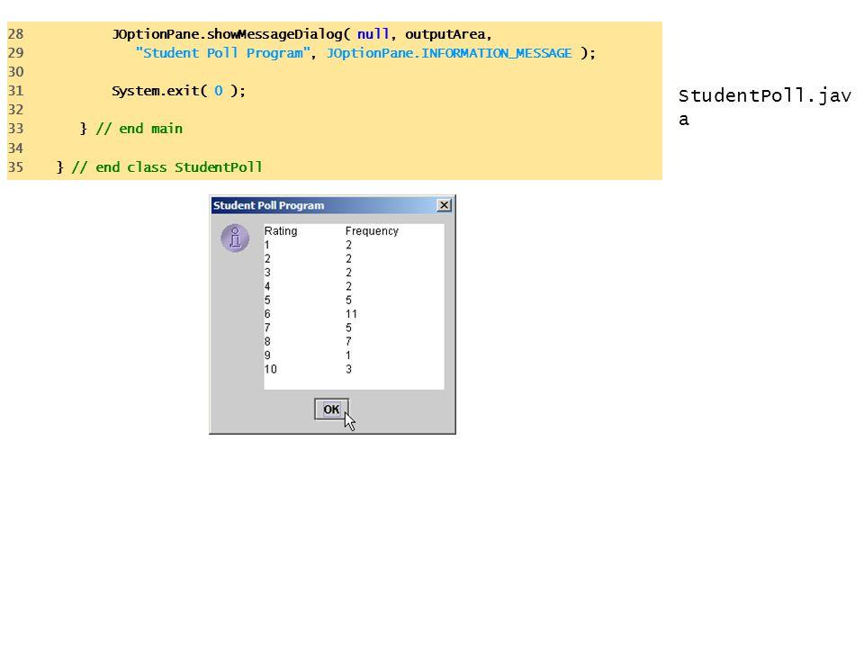 StudentPoll.jav a 28 JOptionPane.showMessageDialog( null, outputArea, 29