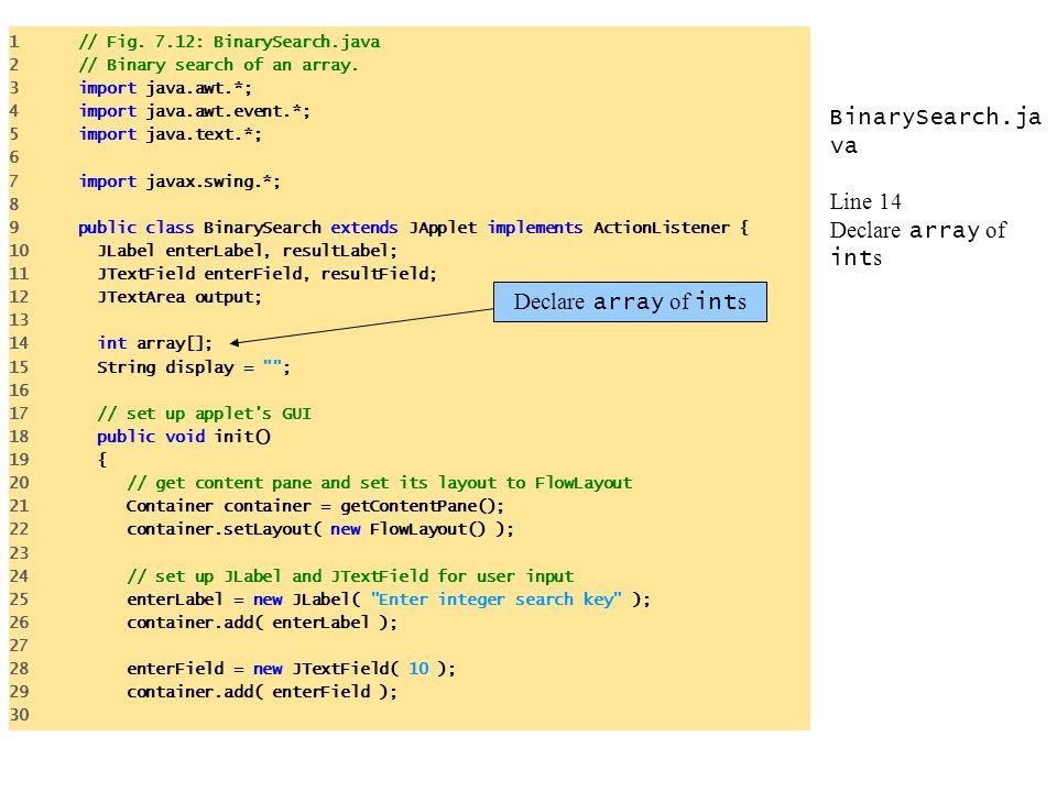 BinarySearch.ja va Line 14 Declare array of int s 1 // Fig. 7.12: BinarySearch.java 2 // Binary search of an array. 3 import java.awt.*; 4 import java
