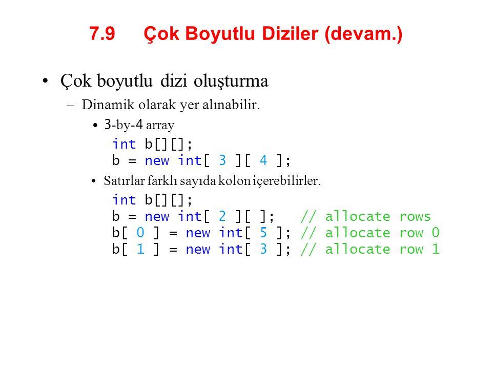 7.9 Çok Boyutlu Diziler (devam.) Çok boyutlu dizi oluşturma –Dinamik olarak yer alınabilir. 3 -by- 4 array int b[][]; b = new int[ 3 ][ 4 ]; Satırlar