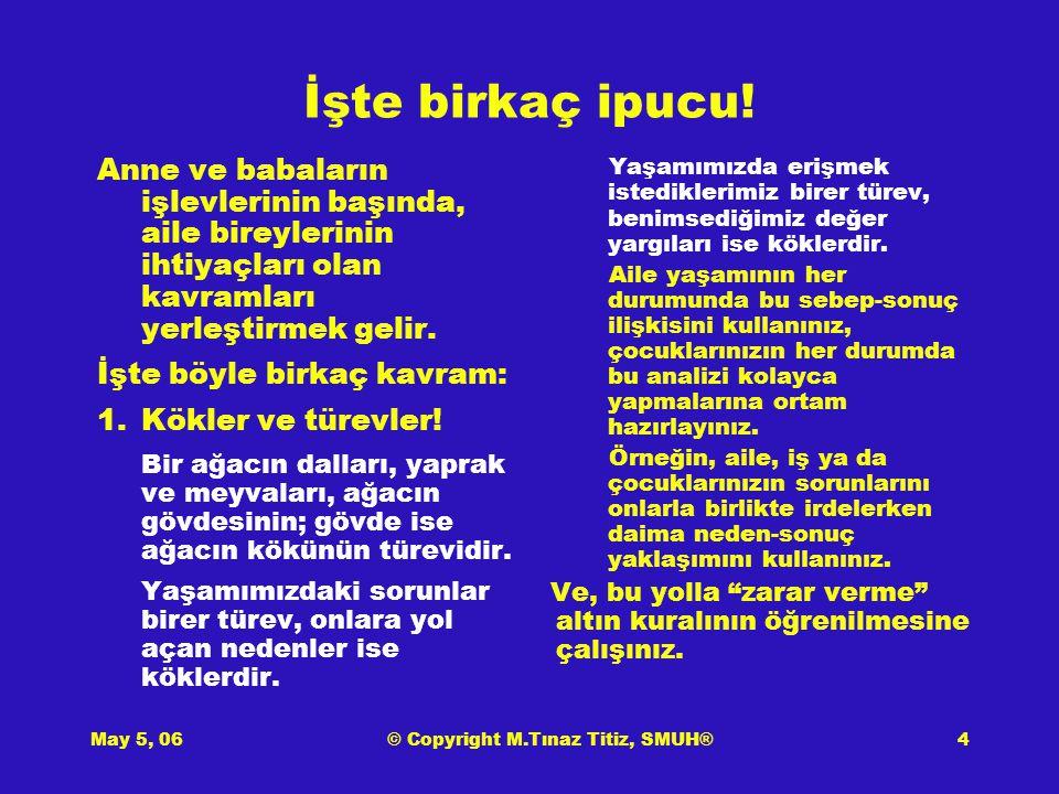 May 5, 06© Copyright M.Tınaz Titiz, SMUH®5 İpuçları (devam) 2.Zihinsel virüslerden korununuz, çocuklarınızı da koruyunuz.
