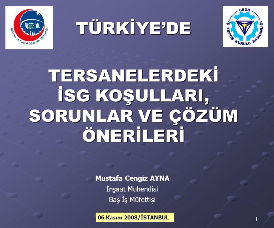 2MCA/2008 KONU BAŞLIKLARI Türkiye'de tersanelerindeki gelişmeler, Türkiye'de ve tersanelerde iş sağlığı ve güvenliğine ilişkin durum (istatistikler), Toplumsal yapıya ilişkin sorunlar ve öneriler, Tersaneler ilişkin sorunlar ve öneriler, Tuzla Tersaneler Bölgesine ilişkin sorunlar ve öneriler, ve öneriler, Bakanlığımız İSG Faaliyetleri, Bakanlığımız İSG Faaliyetleri, Tersanelerde İSG uygulamalarına yönelik öneriler.
