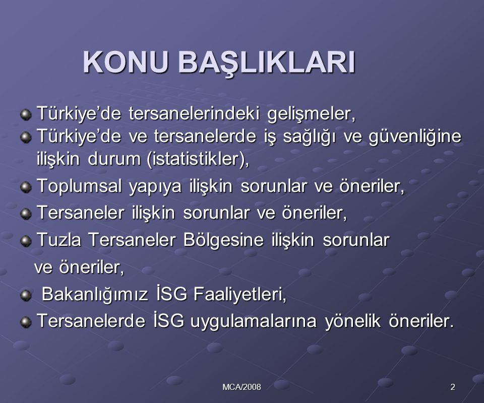 2MCA/2008 KONU BAŞLIKLARI Türkiye'de tersanelerindeki gelişmeler, Türkiye'de ve tersanelerde iş sağlığı ve güvenliğine ilişkin durum (istatistikler),