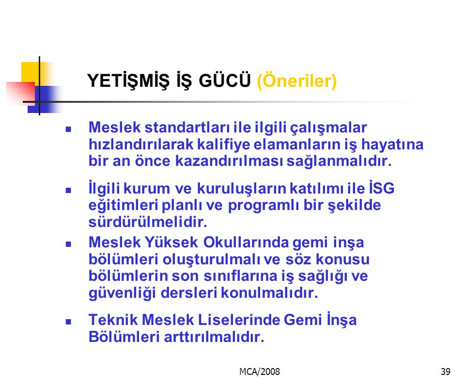 MCA/200839 YETİŞMİŞ İŞ GÜCÜ (Öneriler) Meslek standartları ile ilgili çalışmalar hızlandırılarak kalifiye elamanların iş hayatına bir an önce kazandır