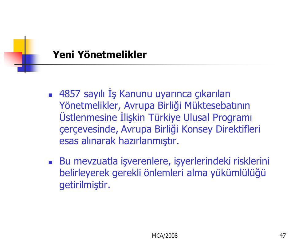 MCA/200847 Yeni Yönetmelikler 4857 sayılı İş Kanunu uyarınca çıkarılan Yönetmelikler, Avrupa Birliği Müktesebatının Üstlenmesine İlişkin Türkiye Ulusa