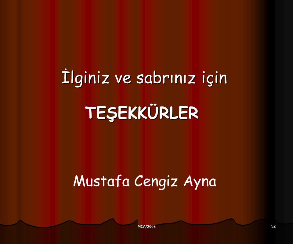 MCA/2008 52 TEŞEKKÜRLER Mustafa Cengiz Ayna İlginiz ve sabrınıziçin İlginiz ve sabrınız için