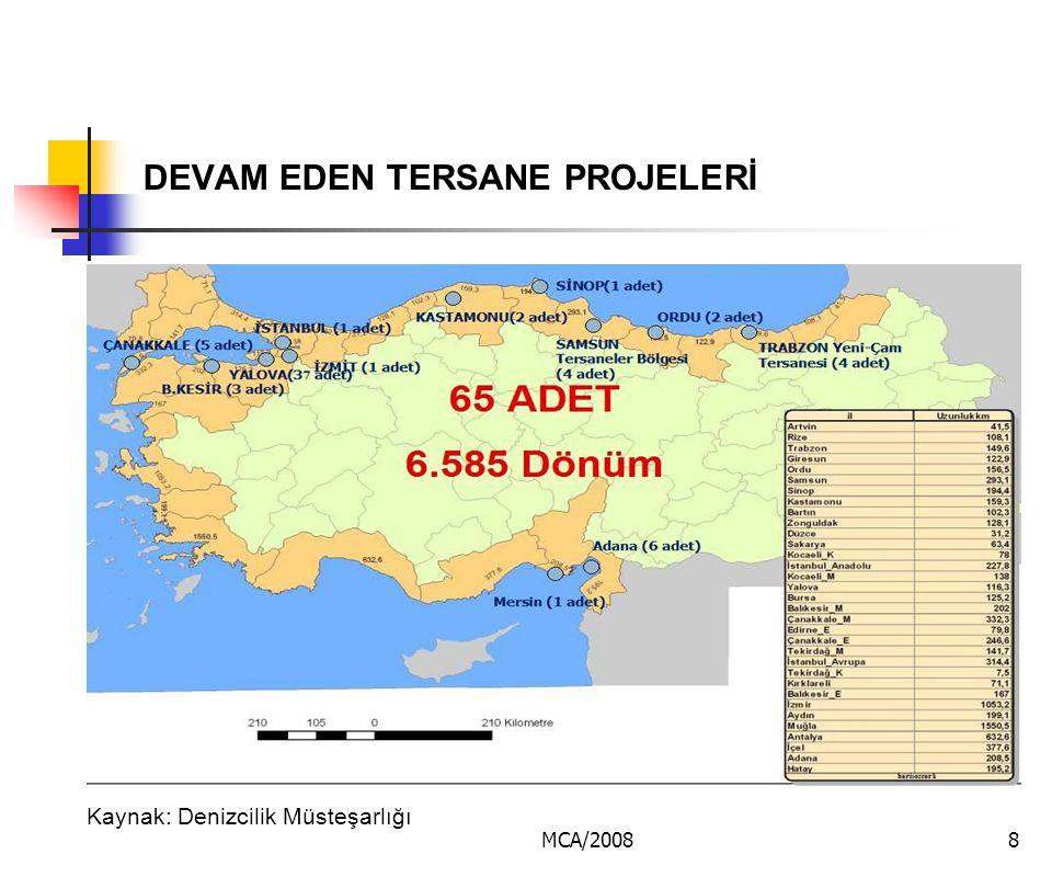 MCA/20088 DEVAM EDEN TERSANE PROJELERİ Kaynak: Denizcilik Müsteşarlığı