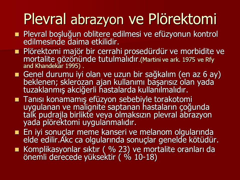Plevral abrazyon ve Plörektomi Plevral boşluğun oblitere edilmesi ve efüzyonun kontrol edilmesinde daima etkilidir.