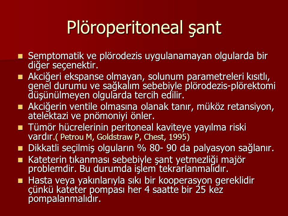 Plöroperitoneal şant Semptomatik ve plörodezis uygulanamayan olgularda bir diğer seçenektir. Semptomatik ve plörodezis uygulanamayan olgularda bir diğ
