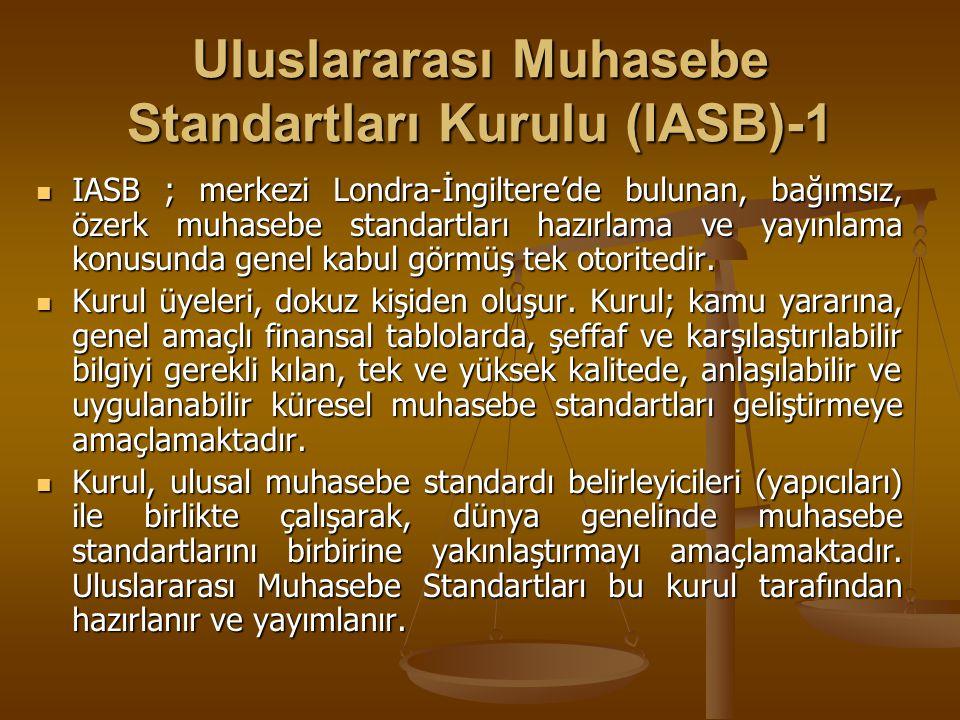 Uluslararası Muhasebe Standartları Kurulu (IASB)-1 IASB ; merkezi Londra-İngiltere'de bulunan, bağımsız, özerk muhasebe standartları hazırlama ve yayı