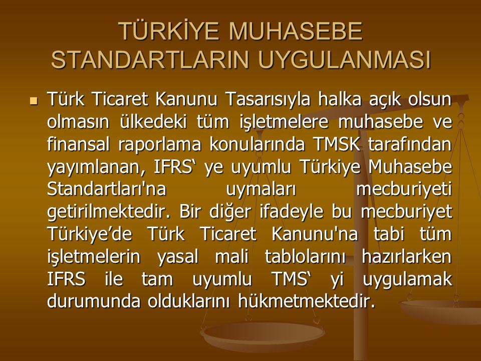 TÜRKİYE MUHASEBE STANDARTLARIN UYGULANMASI Türk Ticaret Kanunu Tasarısıyla halka açık olsun olmasın ülkedeki tüm işletmelere muhasebe ve finansal rapo