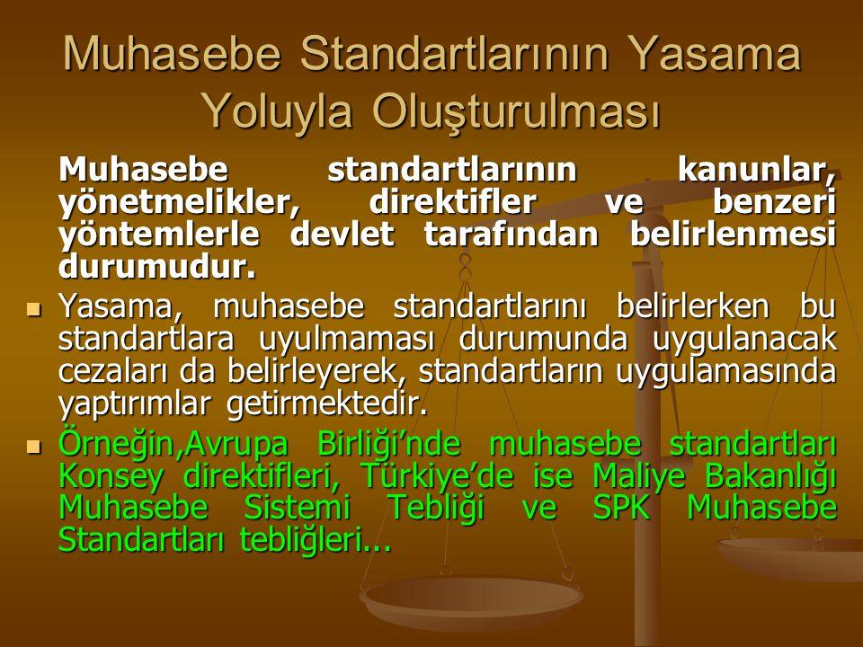 Muhasebe Standartlarının Yasama Yoluyla Oluşturulması Muhasebe standartlarının kanunlar, yönetmelikler, direktifler ve benzeri yöntemlerle devlet tara
