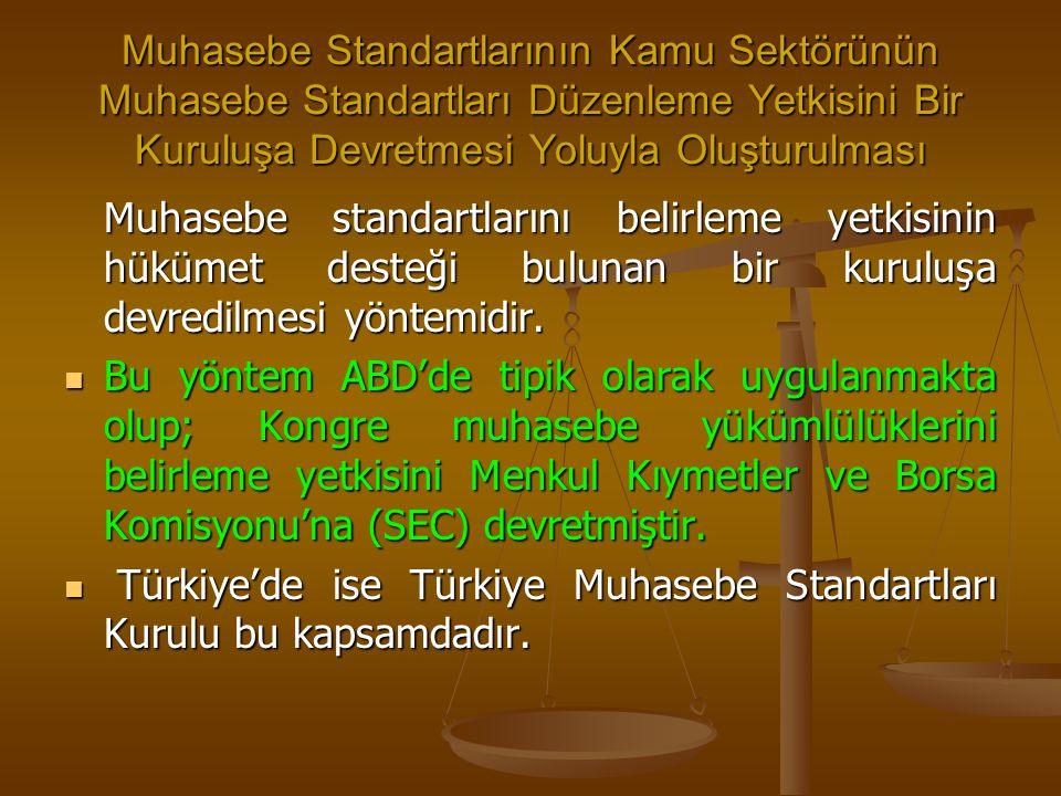 Muhasebe Standartlarının Kamu Sektörünün Muhasebe Standartları Düzenleme Yetkisini Bir Kuruluşa Devretmesi Yoluyla Oluşturulması Muhasebe standartları