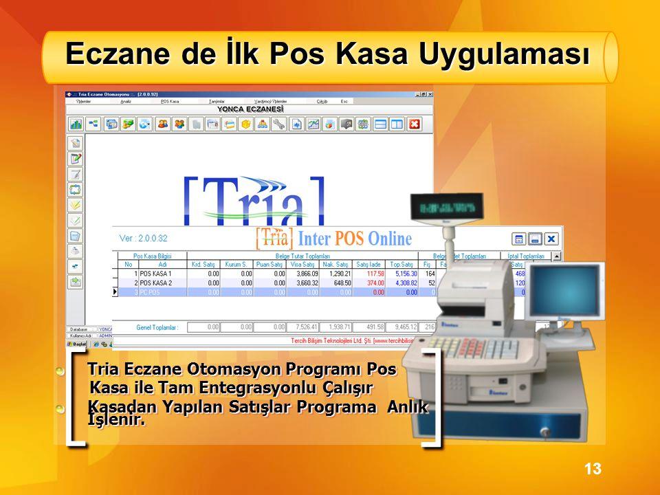 Eczane de İlk Pos Kasa Uygulaması [[ ]] Tria Eczane Otomasyon Programı Pos Kasa ile Tam Entegrasyonlu Çalışır Kasa ile Tam Entegrasyonlu Çalışır Kasad