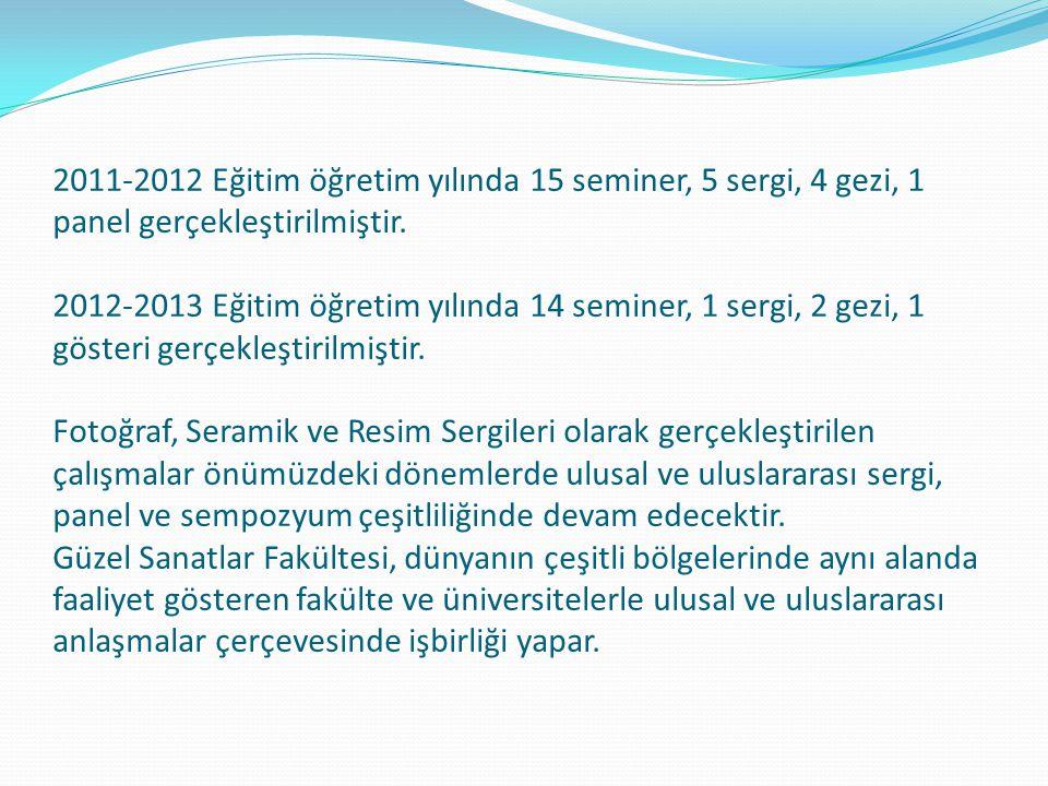 2011-2012 Eğitim öğretim yılında 15 seminer, 5 sergi, 4 gezi, 1 panel gerçekleştirilmiştir. 2012-2013 Eğitim öğretim yılında 14 seminer, 1 sergi, 2 ge