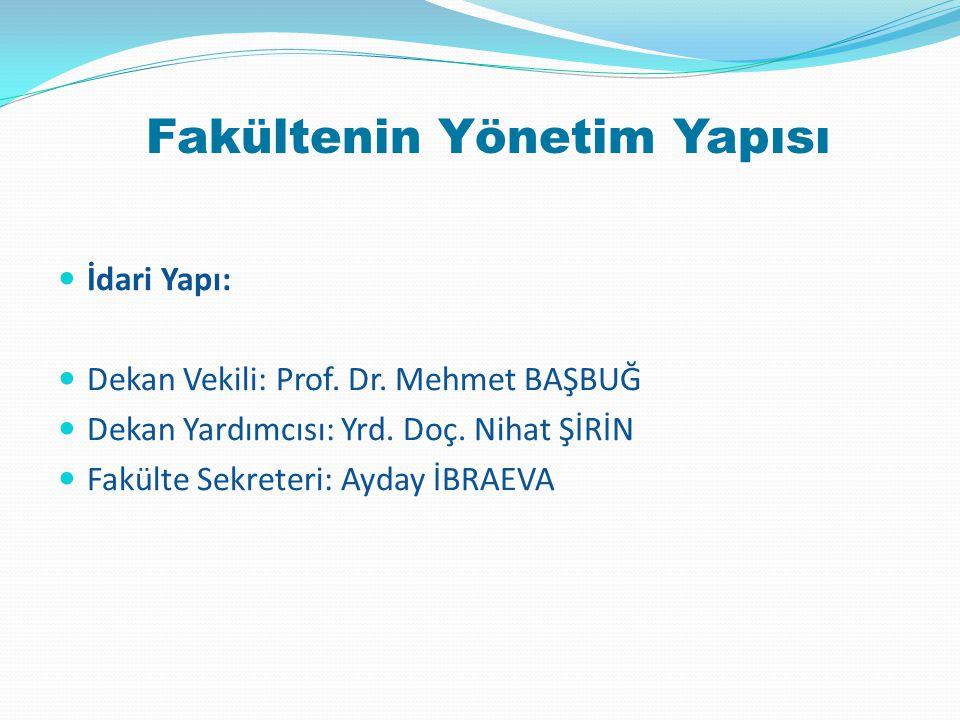 Fakülte Yönetim Kurulu Başkan: Prof.Dr. Mehmet BAŞBUĞ Üye: Prof.