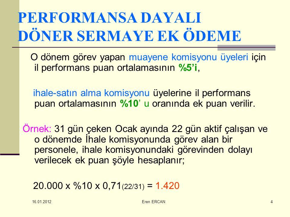 16.01.2012 Eren ERCAN4 PERFORMANSA DAYALI DÖNER SERMAYE EK ÖDEME O dönem görev yapan muayene komisyonu üyeleri için il performans puan ortalamasının %