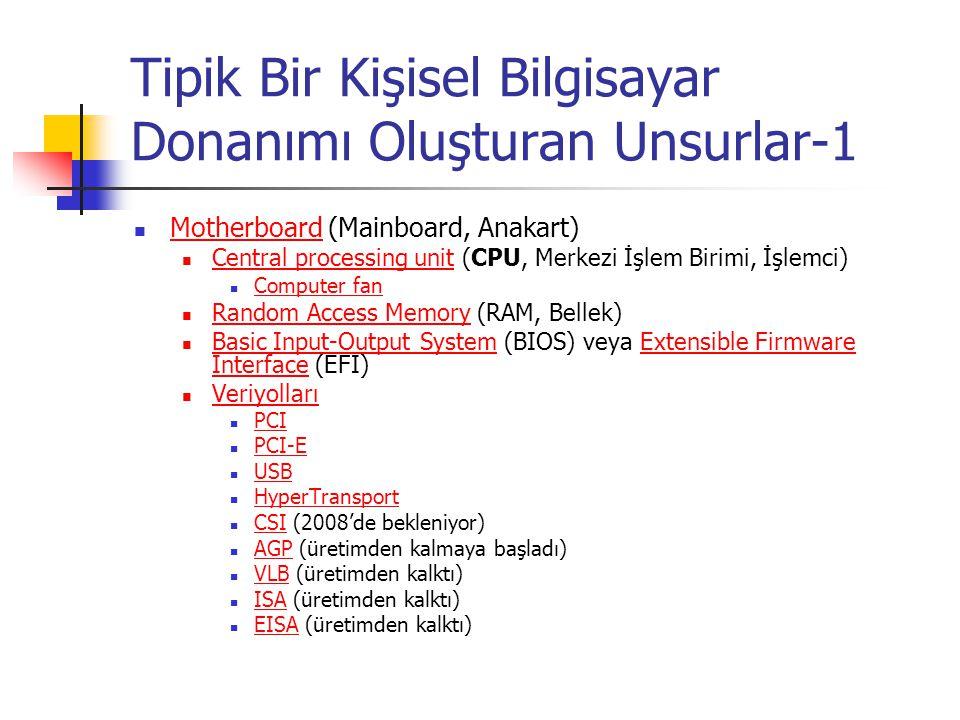 Tipik Bir Kişisel Bilgisayar Donanımı Oluşturan Unsurlar-1 Motherboard (Mainboard, Anakart) Motherboard Central processing unit (CPU, Merkezi İşlem Birimi, İşlemci) Central processing unit Computer fan Random Access Memory (RAM, Bellek) Random Access Memory Basic Input-Output System (BIOS) veya Extensible Firmware Interface (EFI) Basic Input-Output SystemExtensible Firmware Interface Veriyolları PCI PCI-E USB HyperTransport CSI (2008'de bekleniyor) CSI AGP (üretimden kalmaya başladı) AGP VLB (üretimden kalktı) VLB ISA (üretimden kalktı) ISA EISA (üretimden kalktı) EISA